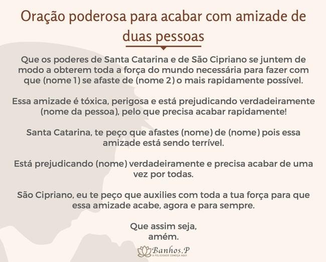 Oração poderosa para acabar com amizade de duas pessoas