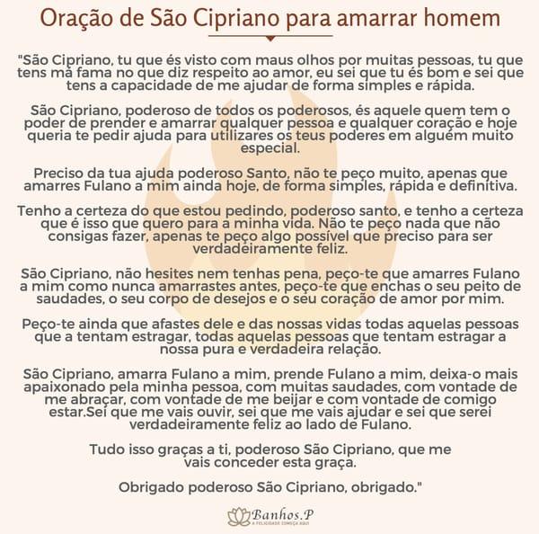 Oração de São Cipriano para amarrar homem difícil