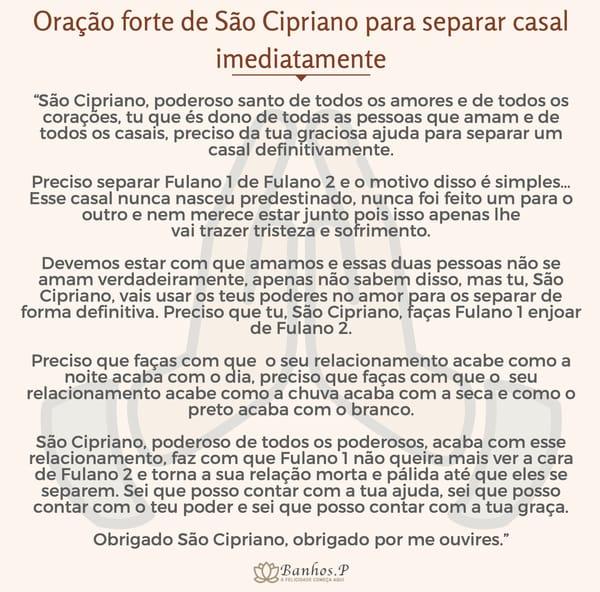 Oração forte de São Cipriano para separar casal imediatamente