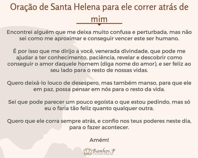 Oração de Santa Helena para ele correr atrás de mim