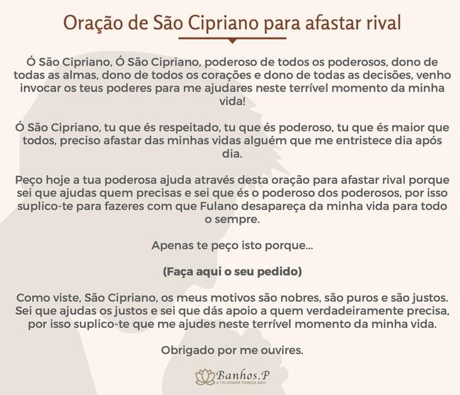 Oração de São Cipriano mais forte para tirar rival da vida do meu amado