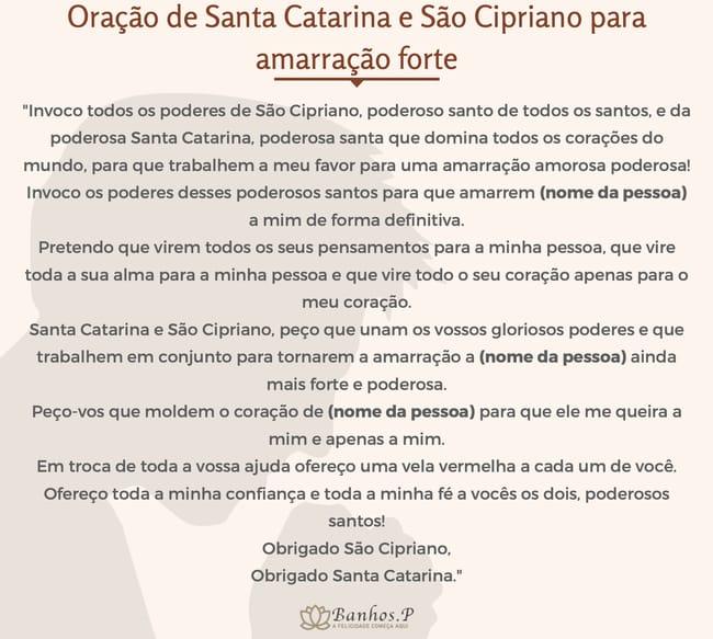 Oração de Santa Catarina e São Cipriano para amarração forte