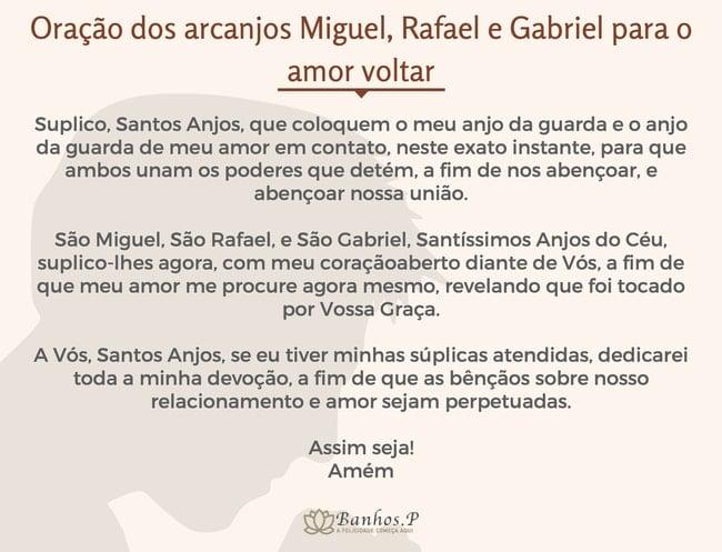 Oração dos arcanjos Miguel, Rafael e Gabriel para o amor voltar