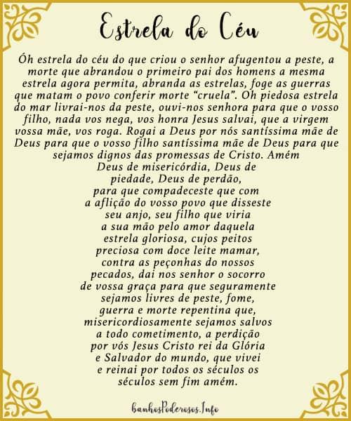 oração estrela do céu em forma de cruz para imprimir