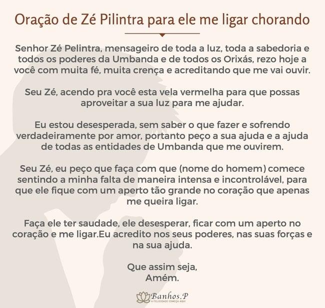 Oração de Zé Pilintra para ele me ligar chorando