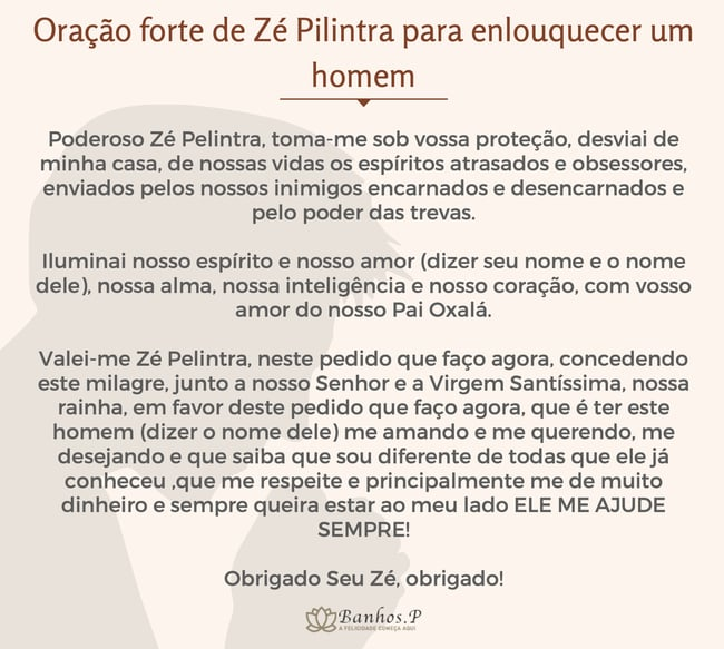 Oração forte de Zé Pilintra para enlouquecer um homem