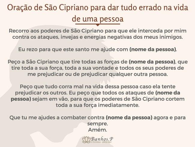 Oração de São Cipriano para dar tudo errado na vida de uma pessoa