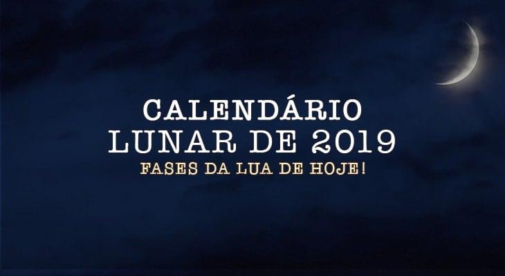Calendário Lunar com fases da lua de 2019