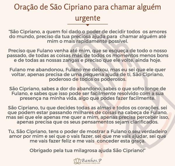 Oração de São Cipriano para chamar alguém urgente