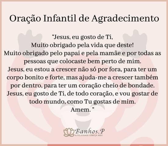 Oração infantil de agradecimento a Deus