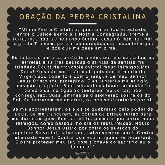 Oração da Pedra Cristalina para imprimir