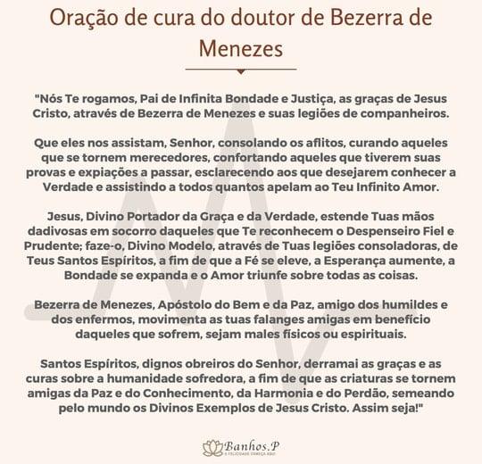 Oração de cura do doutor de Bezerra de Menezes