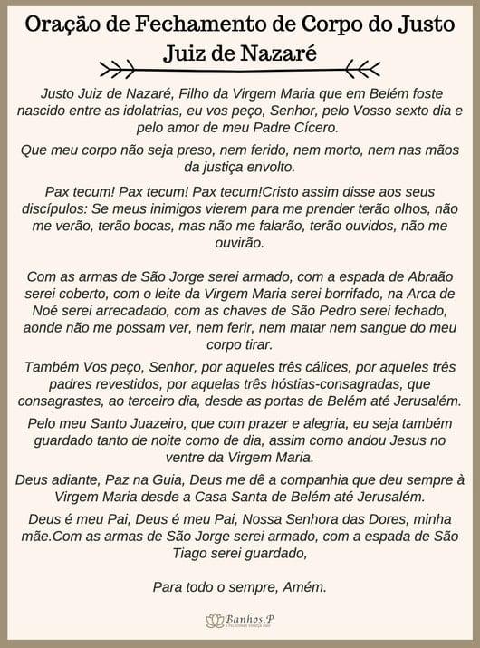 Oração de fechamento de corpo do Justo Juiz de Nazaré para imprimir