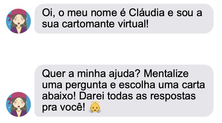 Conversa de texto com a cartomante online