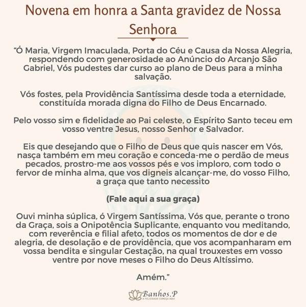 Novena em honra a Santa gravidez de Nossa Senhora