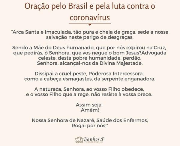 Oração pelo Brasil e pela luta contra o coronavírus