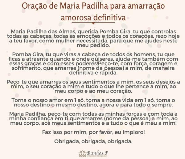 Oração de Maria Padilha para amarração amorosa definitiva