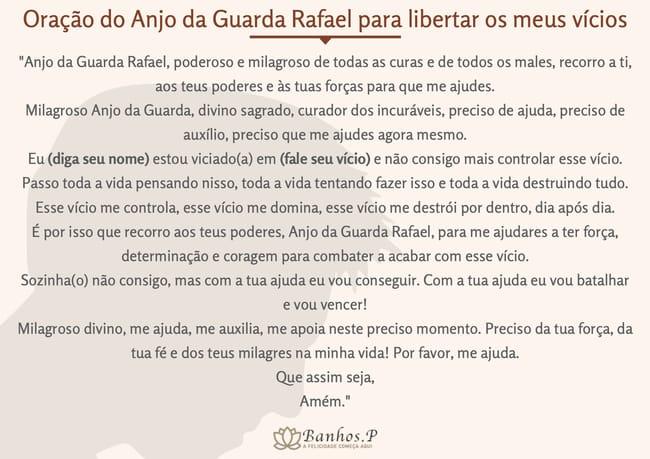 Oração do Anjo da Guarda Rafael para libertar os meus vícios